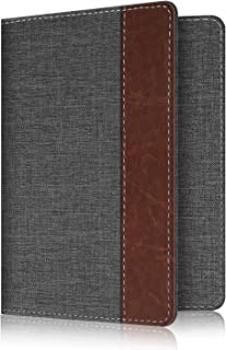 Fintie Passport Holder Travel Wallet - Premuim Fabric with Vegan Leather RFID Blocking Case Cover - Securely Holds Passport, Business Cards, Credit Cards, Boarding Passes, Denim Charcoal/Brown
