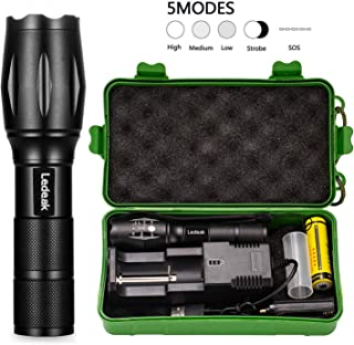 Super Bright LED Flashlight, Ledeak CREE XML-L2 Tactical Powerful Flashlight, 5 Modes Adjustable Focus Pocket Handheld Zoomable Waterproof Torch Light with USB Charger & 18650 Rechargeable Battery