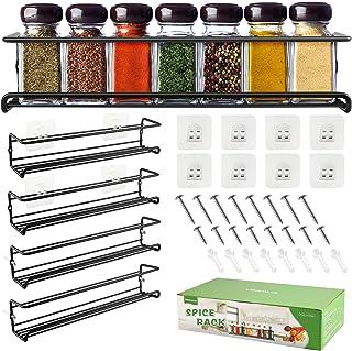 DazSpirit Porte-épices en métal Support de rangement mural à épices Étagère de cuisine longue auto-adhésive pour réfrigéra...