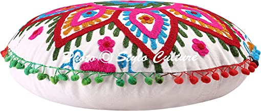 Stylo Culture Indian Round Throw Pillows Traditional Embroidered Suzani Floor Cushion Cover White 18x18 Small Decorative B...