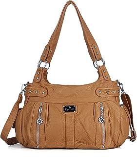 Angelkiss große Geldbörsen und Handtaschen für Damen, gewaschenes Kunstleder, Crossbody Hobo-Umhängetasche, Schultertasch...