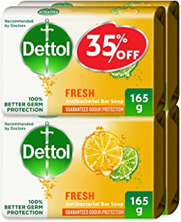 Dettol Fresh Anti-Bacterial Bar Soap 165g Pack Of 4 at 35% Off - Citrus & Orange Blossom