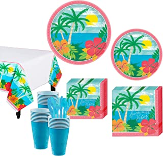 Party City Summer Vibes Tableware Party Supplies for 60 Guests, 643 Pieces, Include Plates Napkins Utensils Table Covers