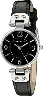 silver watch black face womens
