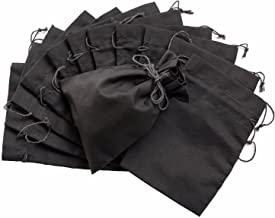 * 纯棉细布抽绳袋 12 件装收纳柜礼品 黑色 6 x 8 inch - 12 pack SL178-17
