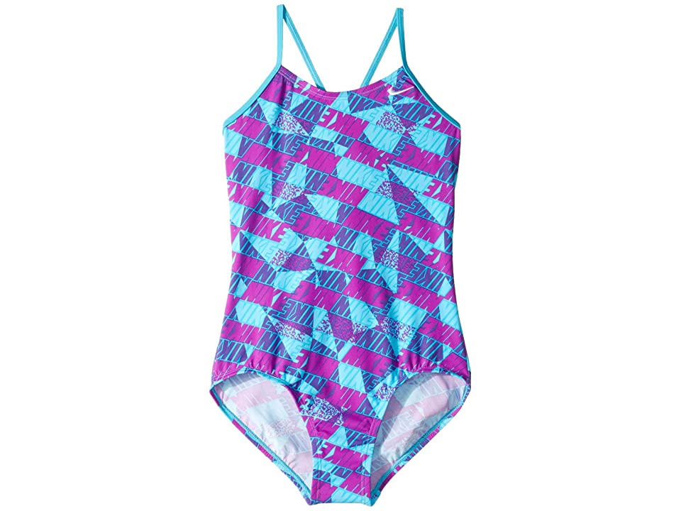 Nike Kids Graphic Crossback One-Piece Swimsuit (Little Kids/Big Kids) (Chlorine Blue) Girl