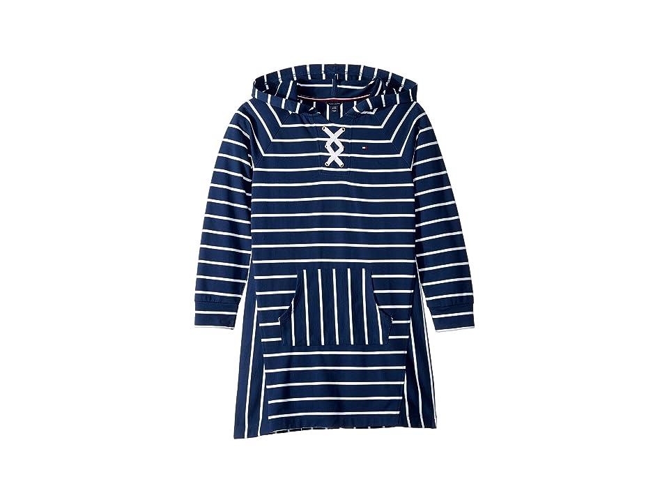 Tommy Hilfiger Kids Hooded Lace-Up Sweatshirt Dress (Big Kids) (Flag Blue) Girl