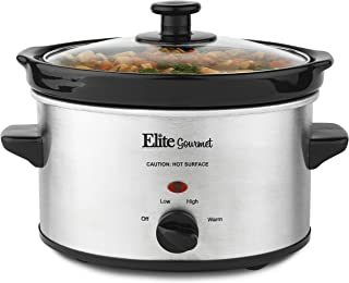 Elite Gourmet MST-275XS Electric Slow Cooker, Adjustable Temp, Entrees, Sauces, Stews & Dips, Dishwasher Glass Lid & Ceramic Pot, 2Qt Capacity, Stainless Steel