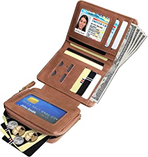 Womens RFID Small Trifold Leather Wallets,Ladies Multi Card Wallet Zipper Coin Purse,Compact (Brown)