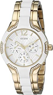 GUESS Women's White And Gold-Tone Feminine Watch