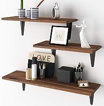 BAMFOX Floating Shelves, Rustic Wood Bamboo Wall Storage Shelves, Wall Mounted Shelf Organizer Set of 3 for Living Room, B...