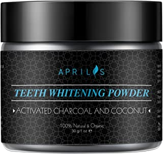Natural Teeth Whitening Powder, Activated Charcoal Powder with Organic Coconut Oil and Bentonite Clay, Max Clean Smart Foaming Teeth Powder, Remineralizes Teeth, 1 oz