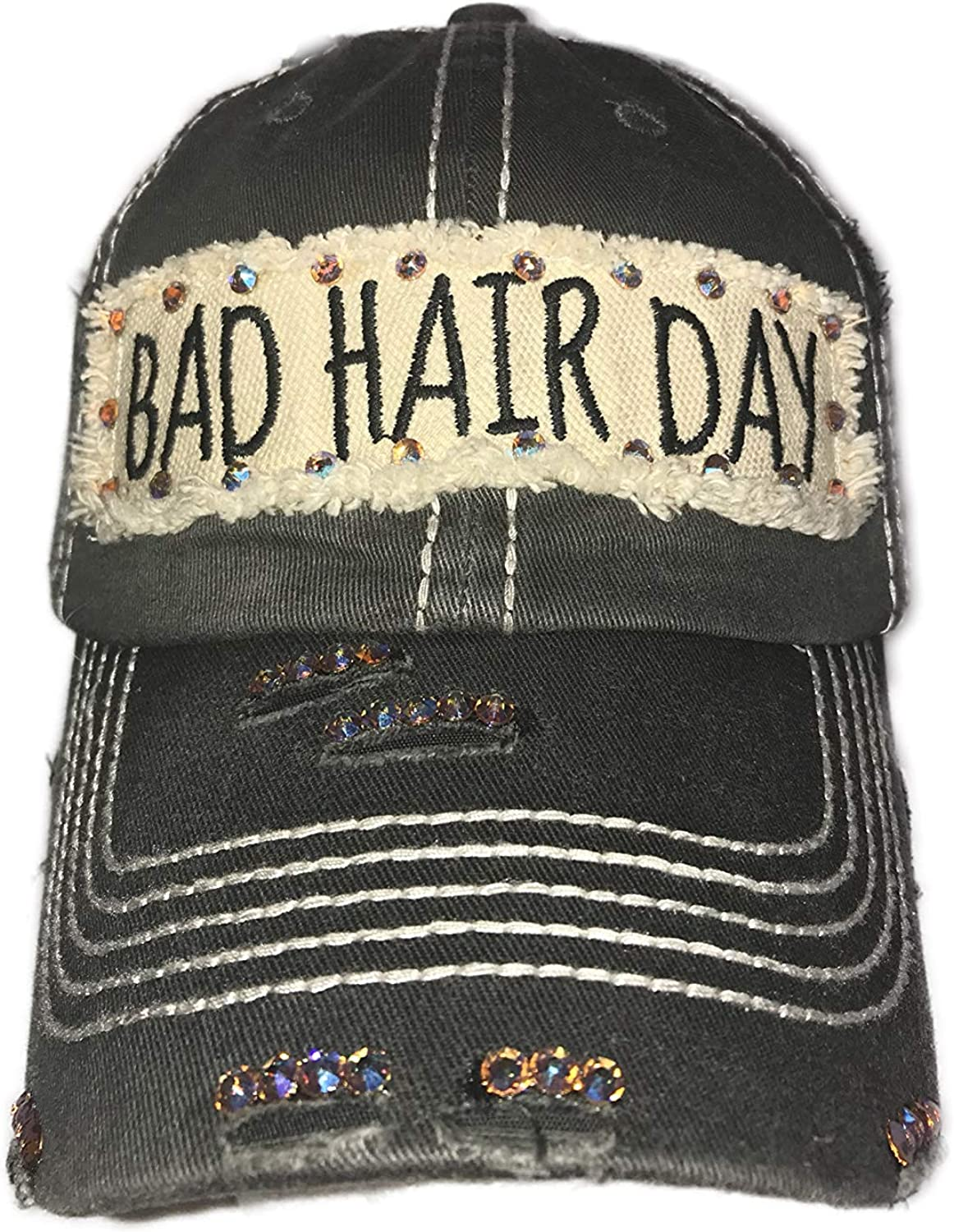 Blinging for Tipps Distressed Charcoal Bad Hair Day Hat with Swarovski Crystals