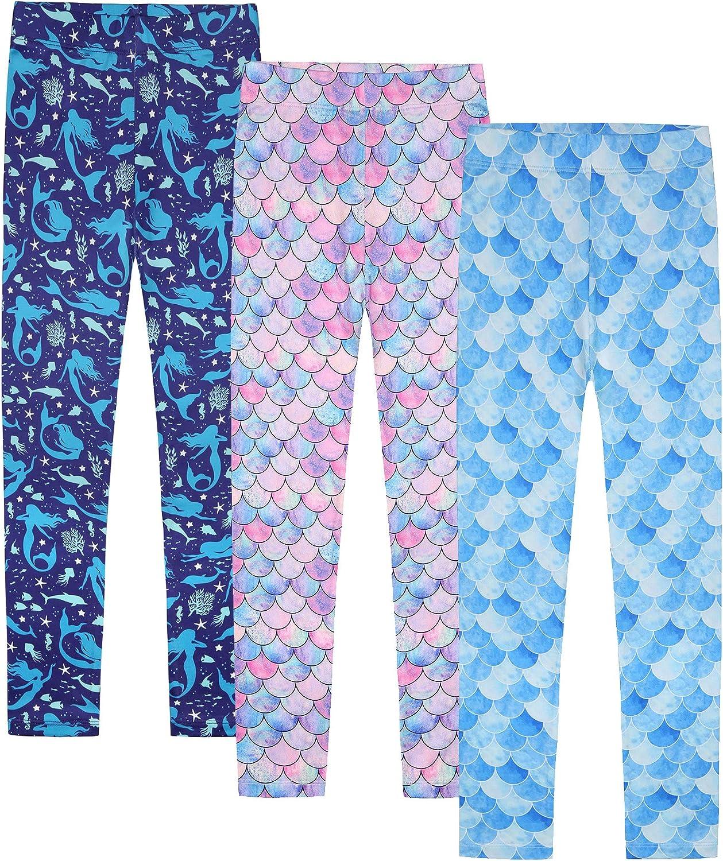 Quedoris Girls Printed Leggings Yoga Pants Multipack Leggings for Kids in 3t to 13 Years: Clothing