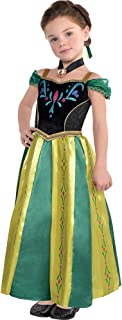 Frozen Anna Coronation Costume for Girls, Includes a Dress, a Hair Comb, and a Necklace