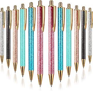12 Pieces Glitter Ballpoint Pens Metal Click Ball Pens Black Blue Ink Retractable Pen with 1 mm Medium Point for School Bu...