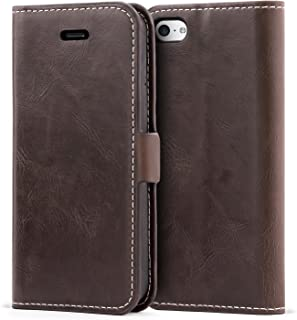 iPhone 5C Case,Mulbess Vintage Leather Wallet Case with TPU Inner Shell, Magnetized Closure, Card Slots Money Pouch and Stand Feature for Apple iPhone 5C,Coffee Brown