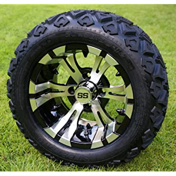 "12"" VAMPIRE Machined/Black Golf Cart Wheels and 20x10-12 DOT All Terrain Golf Cart Tires - Set of 4 - NO LIFT REQUIRED (read description)"