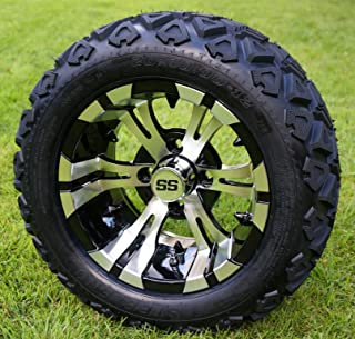 """12"""" VAMPIRE Machined/Black Golf Cart Wheels and 20x10-12 DOT All Terrain Golf Cart Tires - Set of 4 - NO LIFT REQUIRED (re..."""