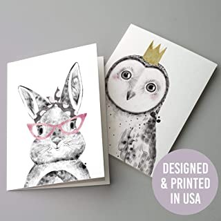 Bulk Whimsical Animal Greeting Cards - 24 Assorted Blank Cards with White Envelopes (12 Designs) Woodland Creatures Pastel Children's Illustrations | Birthday Thank You Owl Giraffe Elephant Alpaca