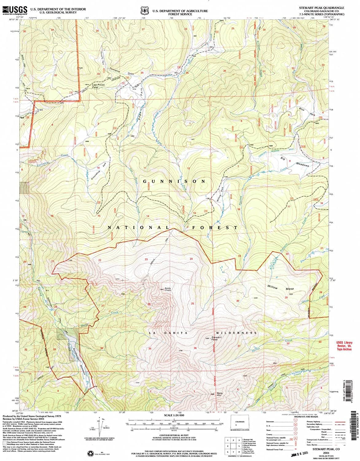 Stewart Peak CO topo map, 1 24000 Scale, 7.5 X 7.5 Minute, Historical, 2001, Updated 2004, 26.7 x 22.1 in