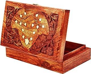 Great Birthday Gift Ideas Handmade Decorative Wooden Jewelry Box with Free Lock & Key Jewelry Organizer Keepsake Box Treasure Chest Trinket Holder Lock Box Watch Box 8 x 5 Inch Her