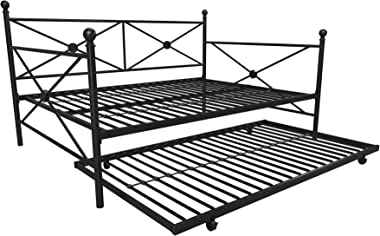 DHP Lina Metal Daybed with Trundle, Full Size Sofa Bed Frame, Black