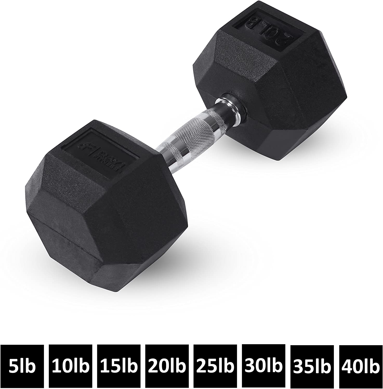Day 1 Fitness Rubber Dumbbell 20 Lb Single Rubber HEX Dumbbell 20 Lb Single, 20lb Single