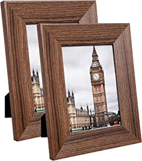 SONGMICS 5 x 7 Inches Picture Frames Set of 2, Wide Picture Frame, Wood Grain, Clear Glass Front, Wall Hanging or Tabletop Stand, Rustic Brown URPF34BR
