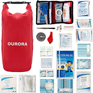 OURORA Waterproof First Aid Kit, Boat First Aid Kit with Roll Top Bag, Emergency Trauma Kit for Boating, Kayaking, Canoe, Hiking, Camping, Car
