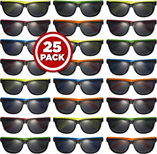 Prextex 25 Pack UV Protected Kids Neon Sunglasses Assorted Neon Colored Perfect Kids Party Favors Toy Glasses for Summer Outdoor Fun