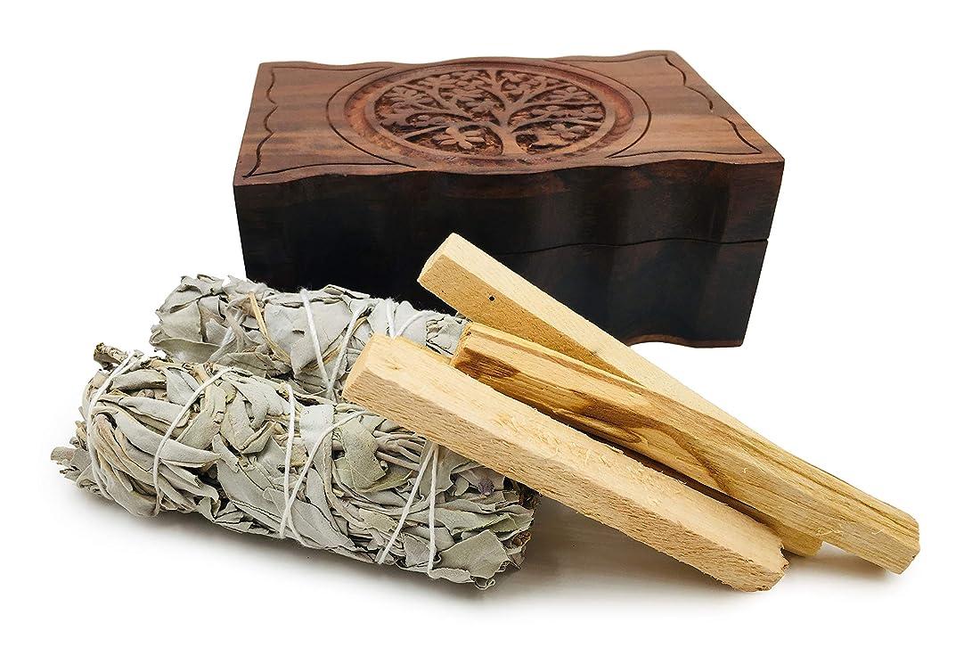 ケーブルカーサイズ生命体オルタナティブイマジネーション彫刻ツリーオブライフ木製ボックス、カリフォルニアホワイトセージ2個とパロサント香4個付き
