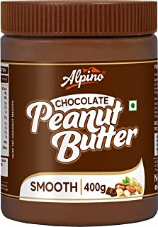 Alpino Chocolate Peanut Butter Smooth 400 G | Made with Roasted Peanuts, Cocoa Powder & Choco Chips | 20% Protein | Non GM...