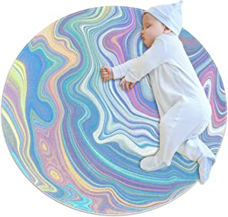 Blå abstrakt, barn rund matta polyester överkast matta mjuk pedagogisk tvättbar matta barnkammare tipi tält lekmatta