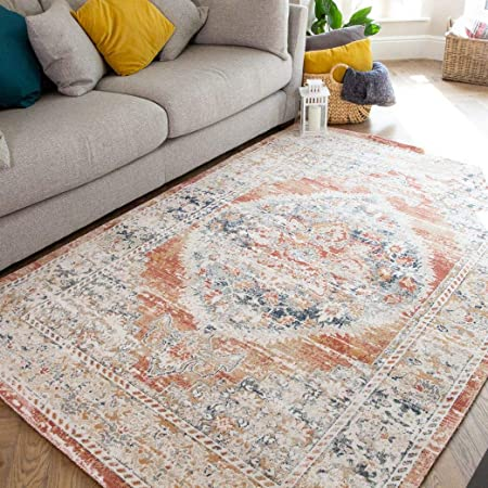 Terracotta Navy Classic Tradition Distressed Rug Vintage Floral Medallion Low Short Flat Woven Pile Easy Cleaned Living Room Area Bedroom Hallway Rugs 80cm X 150cm Amazon Co Uk Kitchen Home
