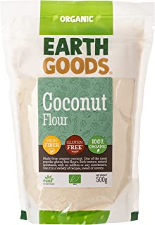Earth Goods Organic Gluten Free Coconut Flour, from organic coconuts, without sulfites or sweeteners; High in Fiber; 500g