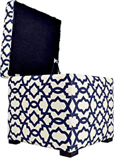 MJL Furniture Designs Tami Collection Fabric Upholstered Lift Top Storage Foot Rest Cube Ottoman, Sheffield Series, Indigo