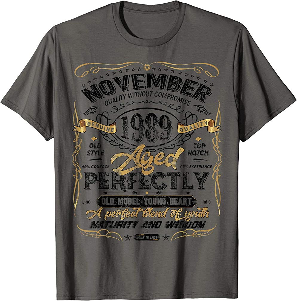 Classic 30th Birthday Gift Mens Womens Vintage November 1989 T-shirt