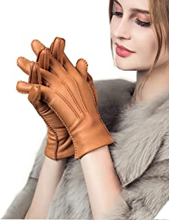 YISEVEN Women's Cashmere Lined Deerskin Leather Gloves Handsewn