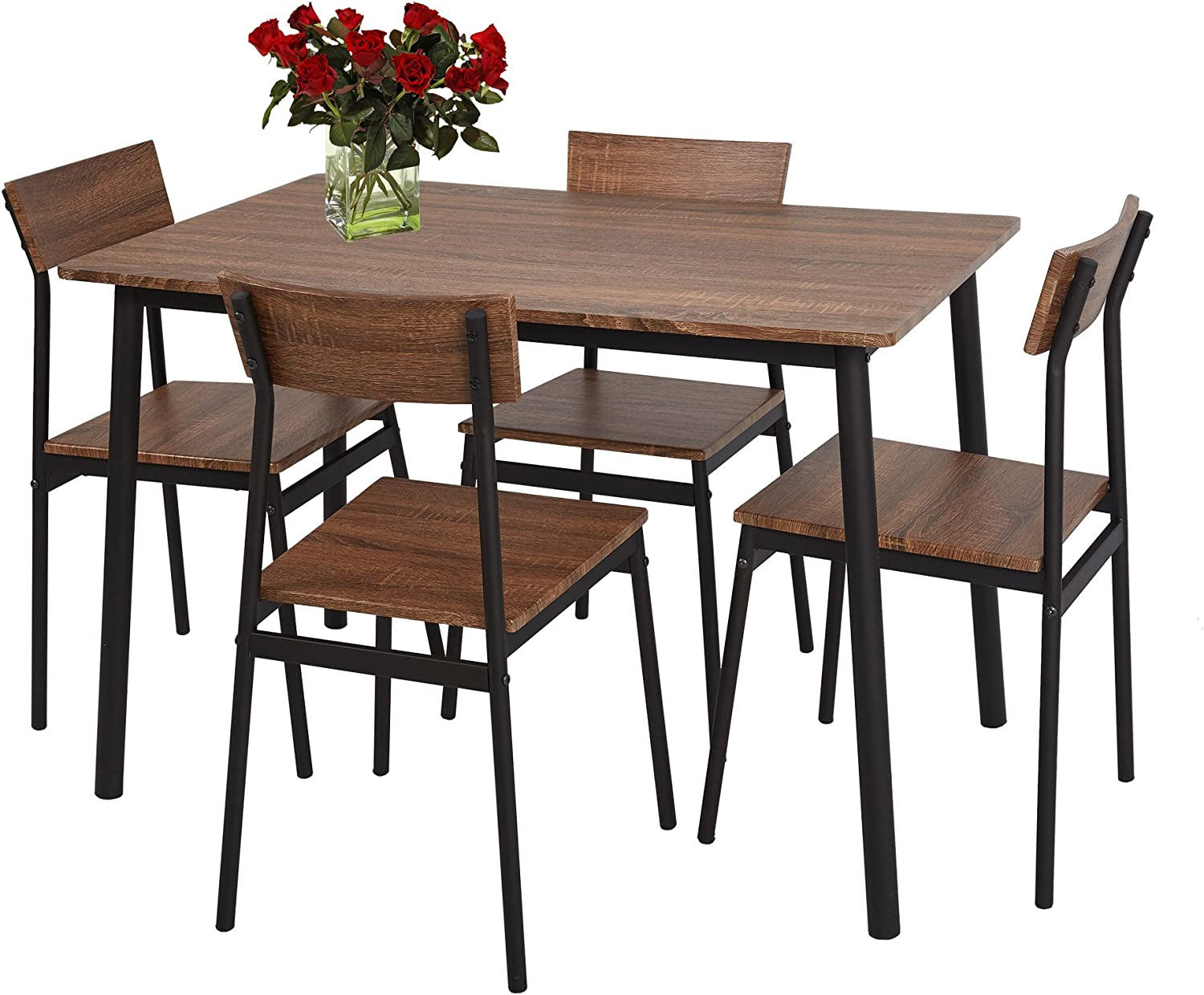 Buy LUCKYERMORE 9 Piece Dining Table Set Rustic Wooden Kitchen ...