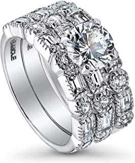 BERRICLE Rhodium Plated Sterling Silver Round Cubic Zirconia CZ Art Deco Solitaire Engagement Wedding Ring Set 3 CTW
