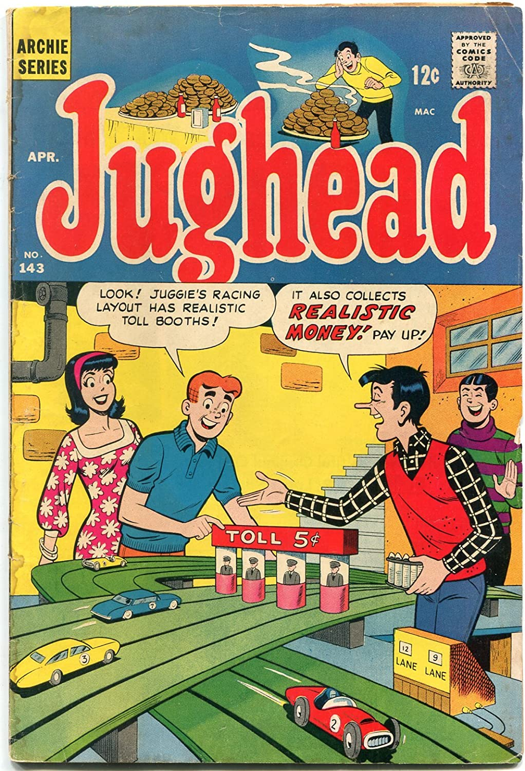 Jughead Spring New product!! new work one after another #143 1967- great slot car cover- POOR Archie