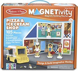 Melissa & Doug Magnetivity Magnetic Tiles Building Play Set – Pizza & Ice Cream Shop