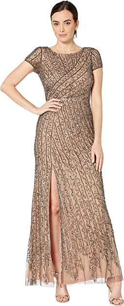 1b1f6ae09 New. Lead/Nude. 15. Adrianna Papell. Cap Sleeve Boat Neck Beaded Mermaid  Gown