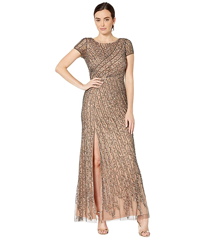 Adrianna Papell Cap Sleeve Boat Neck Beaded Mermaid Gown (Lead/Nude) Women