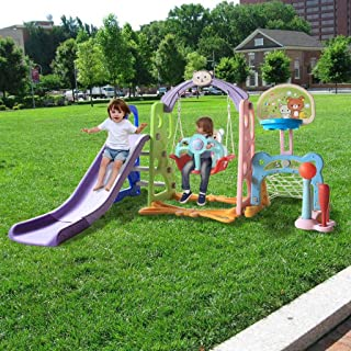 Kimanli 6 in 1 Kids Indoor and Outdoor Slide Swing and Basketball Football Baseball Set