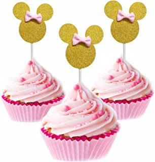 Minnie Cupcake Toppers Pink and Gold Mouse Inspired Girls Birthday Party Decorations Baby Shower 24pcs