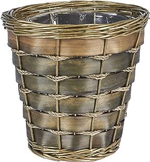 Household Essentials ML-2215 Small Decorative Wicker Waste Basket   Haven Willow and Poplar   Natural Dark Brown