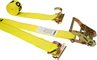 2 Inch x 12 Foot Yellow E-Track Strap with Spring E-Fittings and Wire Hooks