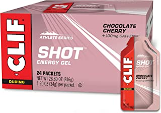 CLIF SHOT - Energy Gels - Chocolate Cherry - 100mg Caffeine- Non-GMO - Quick Carbs & Caffeine for Energy - High Performanc...